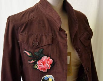 Woman JACKET 90s CHRYSALIDE PARIS Woman Field Jacket Bordeaux Fancy Patches sz. USA28