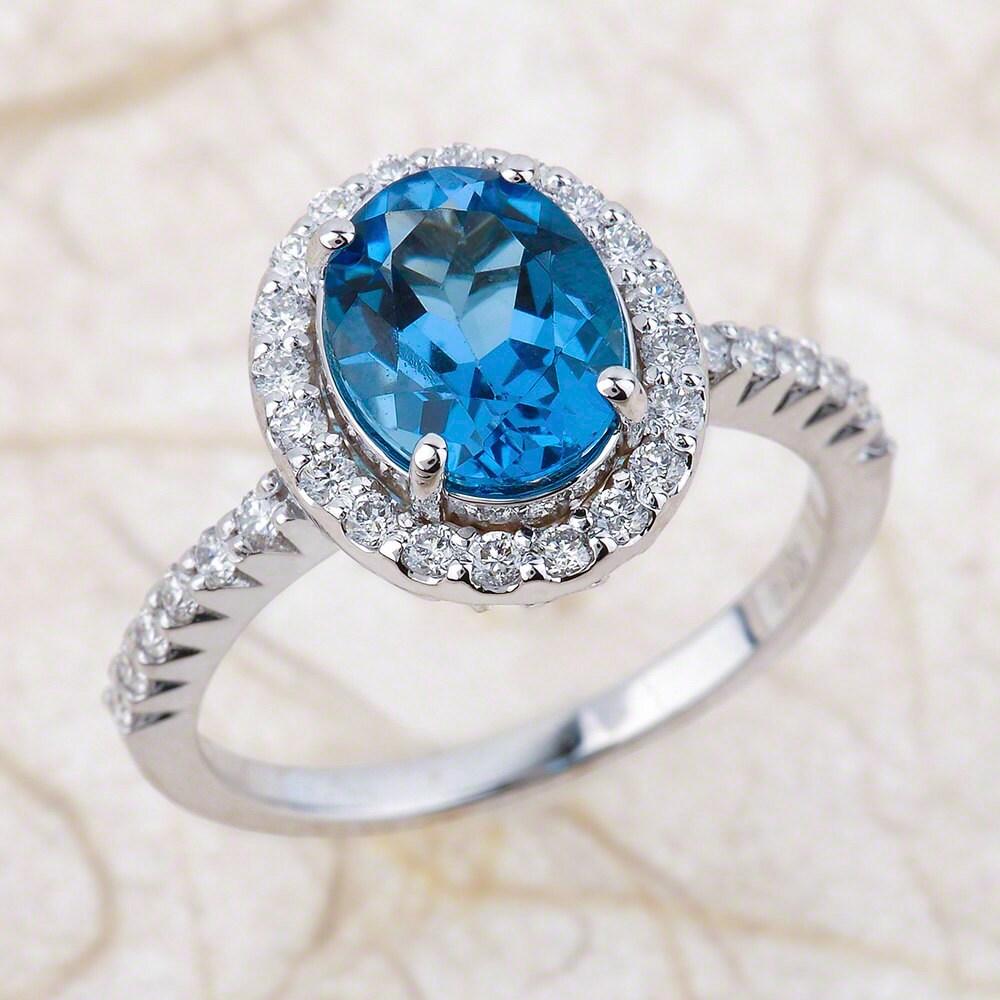Blue Topaz Engagement Ring Natural London Blue Topaz