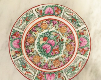 Pink Famille Rose Plate, Vintage Asian Decor, Japanese Porcelain, Hand Painted, Hong Kong, Chinoiserie