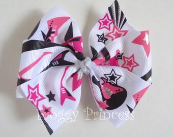 Rock Star Glam Hair Bow - Large Pinwheel - No Slip Velvet Clip