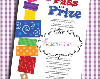 Pass the Prize Fun Baby Shower Game | Baby or Bridal Shower | More Fun Boy or Girl Printable Baby Shower Games Available | INSTANT DOWNLOAD