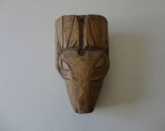 VINTAGE hand carved wood RAM MASK