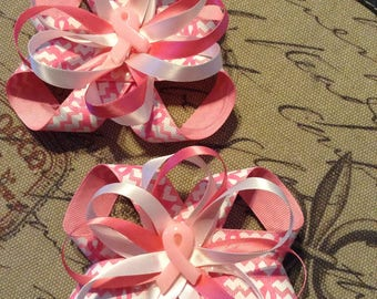 Pink breast cancer awareness bows