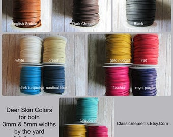 5mm Deerskin, By the yard, Deerskin, Deer Skin, Lace, Leather Lace, Lace, Leather, 5mm lace, 5mm leather