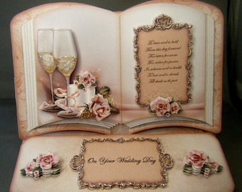 Open Book Handmade Easel Card for Wedding, Anniversary or Engagement