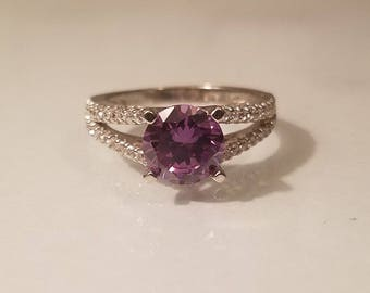 Vintage art deco 2 ctw round cut amethyst and cz cubic zirconia sterling silver ring size 7