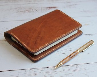Leather Pocket Notebook Cover, Handmade Notebook Cover, A6 Moleskine Pocket Notebook Cover, Travel Notebook, Journal Cover