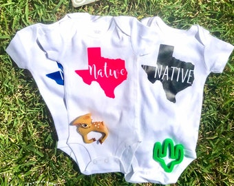 Custom Texas Native Bodysuit (Pick your Color)!