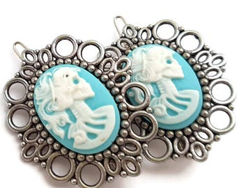 Skull Lady Hair Clips-Blue Skeletina Cameo-Gothic Lolita-Halloween Wedding-Bubble Goth-Pastel Goth-Spooky Chic-Fashion Accessory-Teen Gift