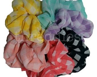 Gingham Scrunchies // 6pc gingham scrunchie set - 6 chiffon scrunchies