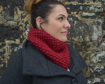 Red Knit Cowl, Winter Cowl, Red Scarf, Red Winter Cowl, Textured Cowl, Christmas Cowl, Christmas Scarf