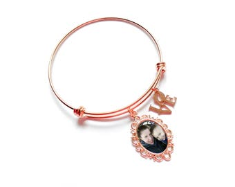 Photo Bracelet / Rose Gold Bracelet / Photo Charm Bracelet / Photo Bangle Bracelet / Unique Gift