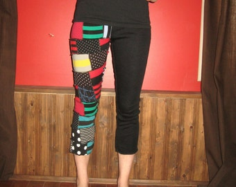 Eco-Friendly Dot and stripe Scrap Patchwork 3/4 Leggings pants Small Medium By Vicmes Clothing