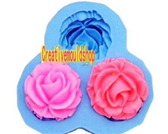 3-Cavity Big Rose Flower Polymer Clay Mold Silicone Mould Handmade mold Soap mold Resin Crafts mould soap making bar soap mold Epoxy mold