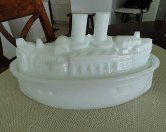 D064)  Antique Victorian Milk Glass USS Maine Battle Ship