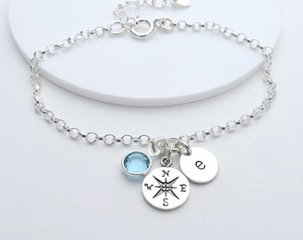 Compass Bracelet, personalised with initial and birthstone - enjoy the journey, graduation gift, travel gift