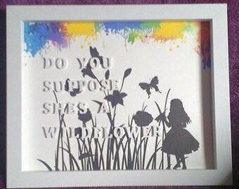 Alice in Wonderland 3D quote box frame white handmade gift item