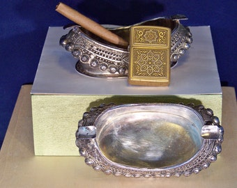 East Indian, Turkish Design Twin Ashtrays and Vintage Collectible Brass Zippo Mandala Designed Lighter Set ---  #C140128