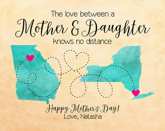 Mothers Day Gift, Personalized Mom Gift, Map Art, Mom Sign, Long Distance Mother Daughter, Gifts for Mom, Mum, Mother's Day Present | WF582