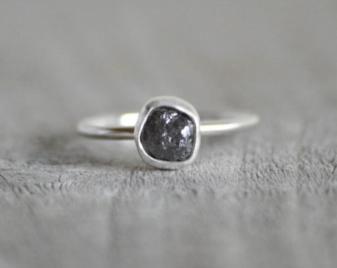 Raw Diamond Engagement Ring, 1.08ct Dark Grey Raw Diamond Ring, Handmade In England