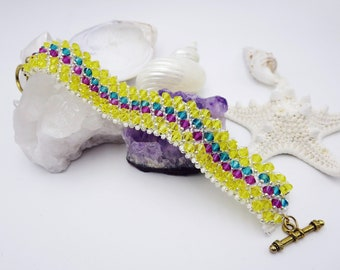 Colorful Beaded Cuff, Swarovski Crystal Statement Bracelet, Special Anniversary or Birthday Gift for Wife or Girlfriend One of A Kind Design