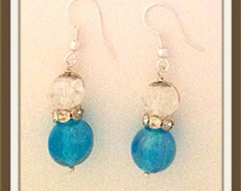 Handmade MWL medium dangle blue and crystal earrings 0024