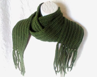 Green Crocheted Scarf with Fringe, Handmade Knit Scarf, Forrest Green, Pine Green, Warm Winter Scarf, Customizable Scarf