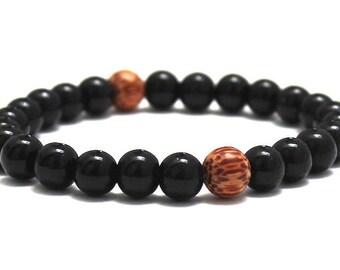 Black Obsidian Dragonglass Mens Beaded Bracelet, Mala Worry Beads, Gift for Him Yoga Boyfriend, Husband, Men Wood Bracelet, Healing Crystals
