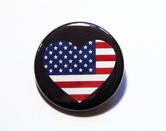 United States Pin, Pinback buttons, Lapel Pin, 4th of July, I Love USA, US Flag Pin, USA Heart Pin, Red White Blue, Country Pin (5765)