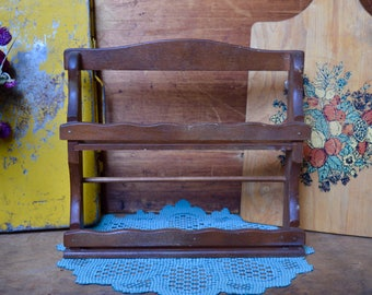 Vintage Standing Wooden Primitive Spice Rack Display Kitchen Decor Wall Hanging with Hooks on Back
