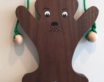 Toy Climbing Bear Made from Natural Walnut Wood - Handcrafted Wooden Toy Climbing Bear Natural Walnut Wood - Teaches Coordination