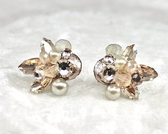 Champagne Bridal Studs- Art Deco Bridal Studs- Champagne Earrings- Bridal Cluster Earrings-Champagne Bridal Earrings- Vintage Inspired Studs