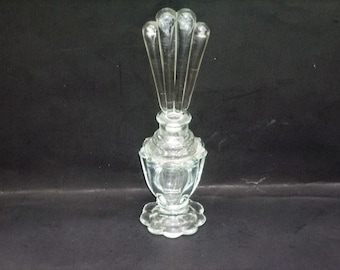 Art Deco Glass Perfume Bottle with Fan Topper