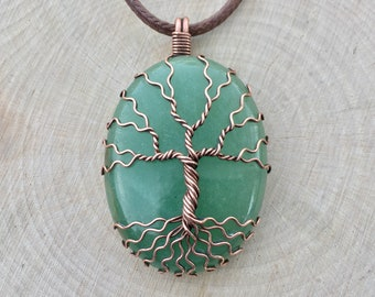 Tree of Life Pendant, Green Aventurine Necklace, Gemstone Necklace, Crystal Necklace, Wire Wrapped, Healing Crystal, Spiritual, Boho