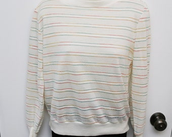 Cute 1980s  light weight sweater white with rainbow thread