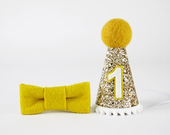 First Birthday Hat | First Birthday Outfit Boy | 2nd Birthdy Hat | Baby Cake Smash Photo Prop | 1st Birthday Hat | Gold + White