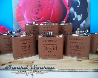 Set of 8 Personalized Flask