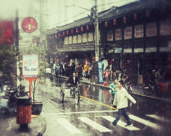 Colour print: A rainy day in Shanghai| Digital download