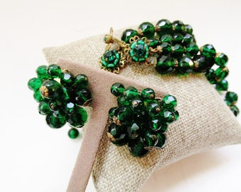 DeMARIO NY Green Crystal Necklace and Earrings, Cluster Bead Earrings, Double Strand Choker, Holiday Vintage Crystal Jewelry Set, 1950's
