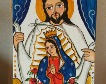 SOLD Juan Diego and Our Lady of Guadalupe, santo, retablo, painting, Guadaluupe, Marie Romero Cash
