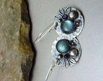 Oxidized Labradorite Cabochon Earrings on Hammered Silver Disks with Amethyst, Sterling Silver Adornments, and Sterling Silver Ear Wires