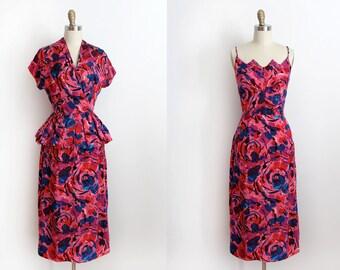 ON SALE vintage 1940s dress // 40s pink silk dress and peplum jacket set