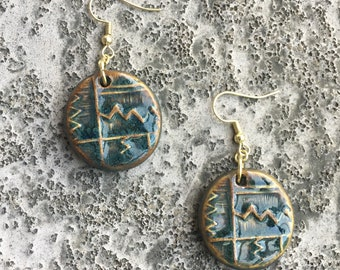 Peruvian Ceramic Tile Earrings