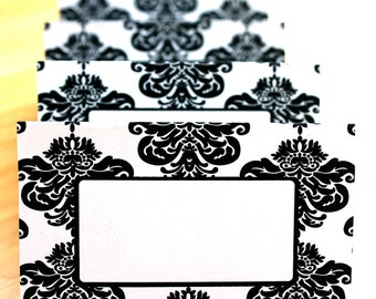 Modern Damask Editable Place Cards Printable
