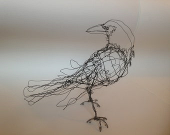 Standing Black Raven-Wire Drawing Sculpture art