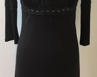 1970's Black / Laced Bodice / Empire Waist / Long Sleeve / Renaissance Dress by Max Studio Ladies Size XS