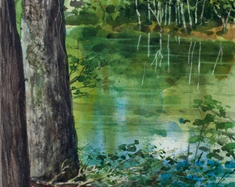 Saco River, Watercolor Print, Maine, Reflections, Trees, Green, Woods