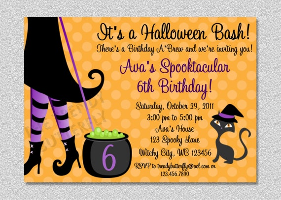 Halloween witch costume party birthday invitation filmwisefo