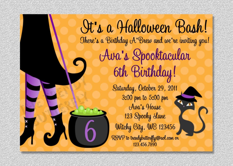 Halloween Witch Costume Party Birthday Invitation