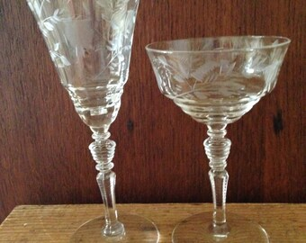 Set of 5 each water and wine/champagne etched crystal from 1938
